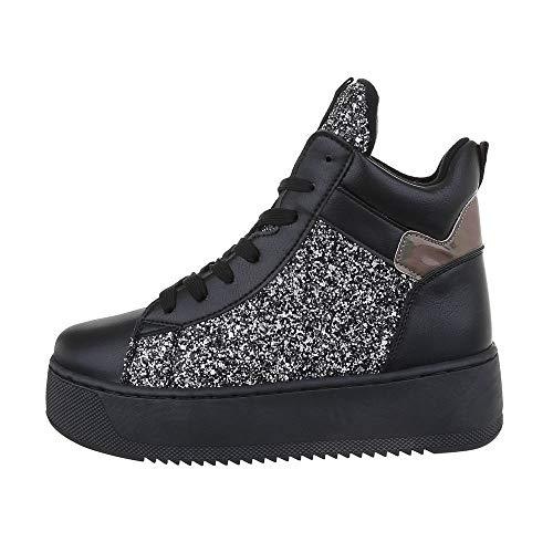 Ital Design Damenschuhe Freizeitschuhe Sneakers high Synthetik Schwarz Silber Gr. 38