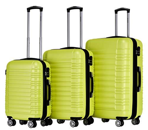 BEIBYE Hartschalen Koffer Trolley Rollkoffer Reisekoffer Zwillingsrollen Kofferset (Grün, Set)