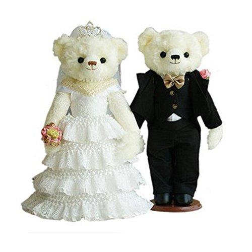 Lovely Mariage Ours mignon nounours Cadeau de mariage (Blanc en dentelle Voile/noir Costume)