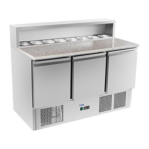 41FYL1vwcTL - Royal Catering Kühltisch Pizzakühltisch Saladette RCKT-137/70-G (Granitarbeitsplatte, 70x140x110cm, 380l, 0-10°C, 300W) Silber