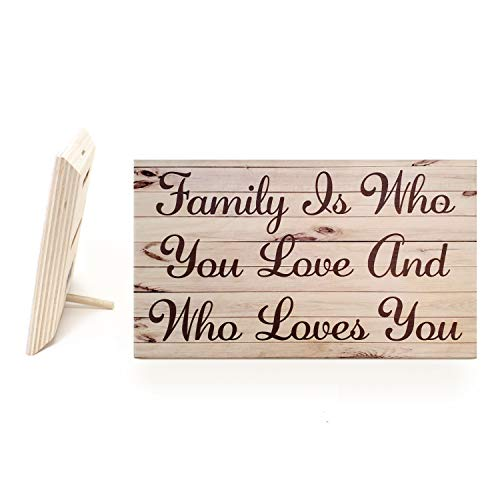 JennyGems Family is Who You Love and Who Loves You | Wooden Sign | Friendsgiving Gift | Friends are Family | Made in USA
