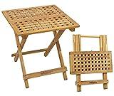 Woodside Belford Wooden Folding <span class='highlight'>Garden</span> Coffee Table, 50cm x 50cm x 50cm, Treated Walnut Wood
