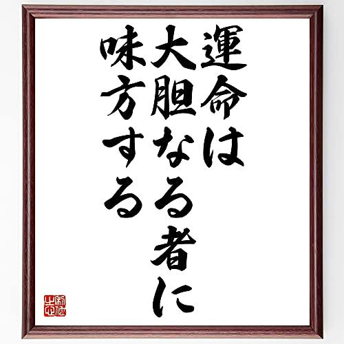 書道色紙/デジデリウス・エラスムスの名言『運命は大胆なる者に味方する』額付き/受注後直筆(千言堂)Y0061