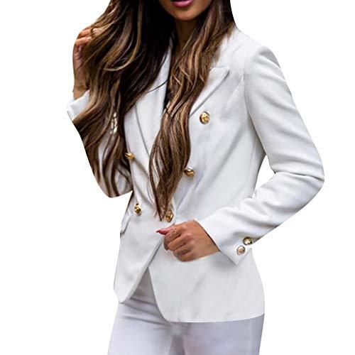 Hffan Damenanzug Jacke Herbst langärmelige warme Anzug Windjacke einfarbig V-Ausschnitt Strickjacke Knopfanzug Mantel