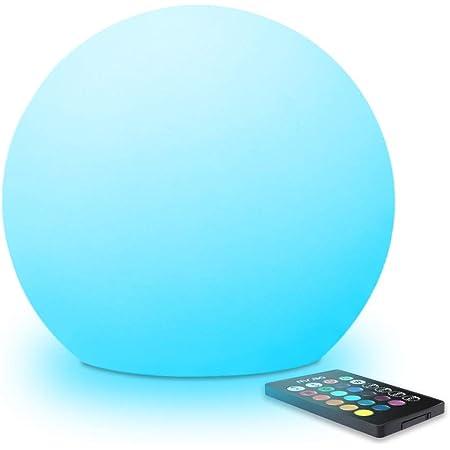 Mr.Go 25cm Lumineux Boule LED Sphère Lampe avec Télécommande et 16 Couleurs Dimmable, RGB Changement de Couleur Lumière d'ambiance, Imperméable Balle de Jardin pour Extérieur