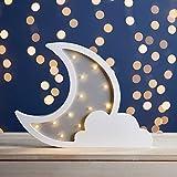 Lights4fun - Lámpara de Mesa de Madera en Forma de Luna y Nube con 12 LED Blanco Cálido a Pilas Decoración para Habitaciones de Niños