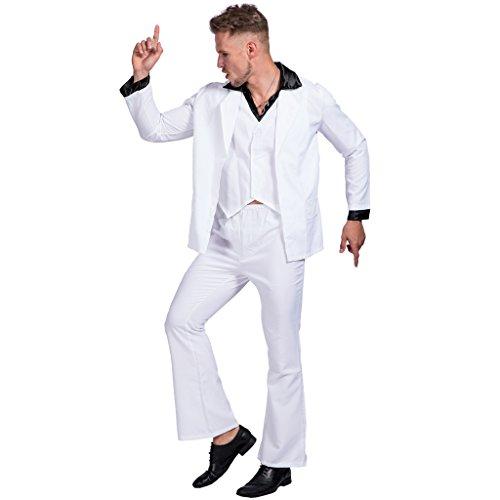 EraSpooky Disco Fever Herren Verkleidung Kostüm 70er Jahre weiß Disco Anzug