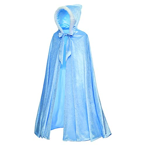 Princess Elsa Cinderella Costume Deluxe Soft Velvet Plush Hooded Long Cape Cloak Accessories for Toddler Girls Dress Up Party Size 3T 4T 5T 3 4 5 Years(Blue)