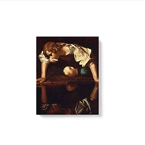 LangGe Foto auf leinwand 60x90cm kein Rahmen Narcissus Caravaggio Masterpiece Plakatwand Kunst Dekor Wohnzimmer Schlafzimmer Studie Home Decoration Prints