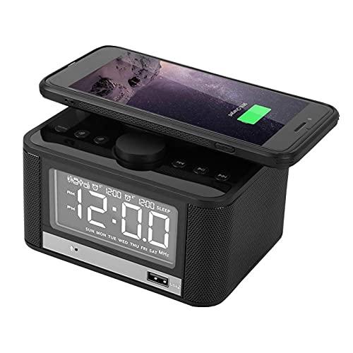 Cuifati Altavoz, Altavoz de Reloj Despertador Digital, Silencioso sin Ruido, Función de Carga inalámbrica del teléfono móvil Superior(Estándar Americano (100-240v))