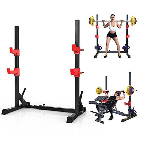 Novhome Soporte para mancuernas, soporte ajustable, soporte para pesas largas, soporte para sentadillas, rack para entrenamiento con pesas largas, soporta hasta 300 kg