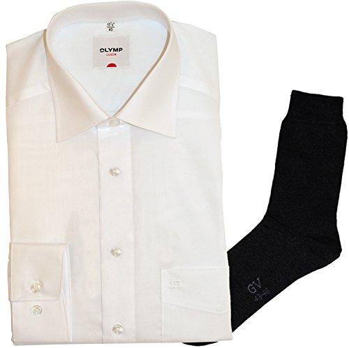 OLYMP Hemd Luxor Comfort Fit - extra Langer Arm 69cm, New Kent Kragen, weiß + 1 Paar hochwertige Socken, B&le