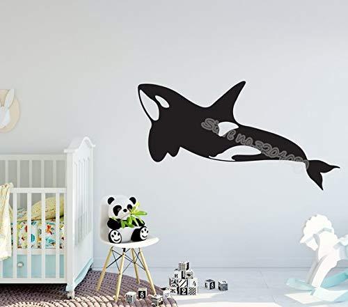 Grand Whale Island Sticker Mural Orca Mer Créatures Plage Décor Decal Mignon Dolphin Nursery Enfant bébé Salle De Bains Affiche Murale 56X32CM