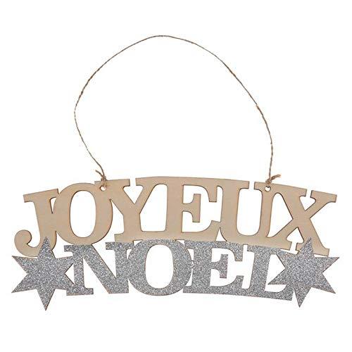 Santex Noel - 2 Suspensions en Bois Joyeux Noel Argent et Or pailleté