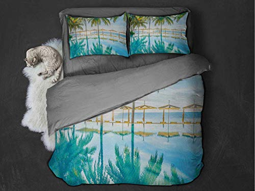 Landscape Comfort Luxurious Softest Premium Bed Sheet Set Pool by the Beach with Lights Seasonal Eden Hot Sunny Humid Coastal Bay Photo Anti-wrinkle and anti-fading (Queen) Green Blue
