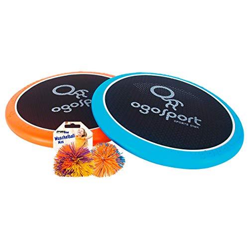 2 OgoSport Softdiscs (Ø30cm) mit elastischer Netzbespannung, 1 Ogo Ball Ball, 1 Busch Wusch Ball, beliebte Spiel-Klassiker, im Karton Fang Wurfspiel