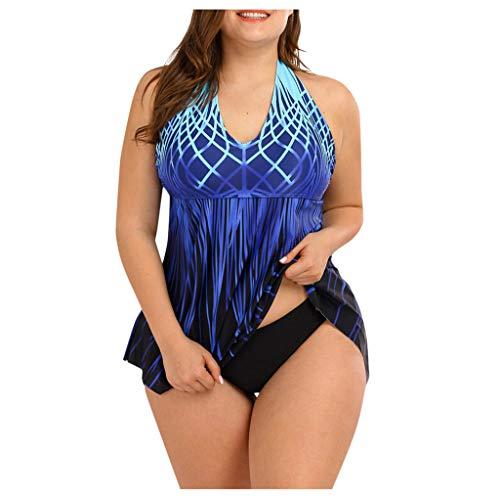 Zylione - Tankini para mujer con cuello en V, estilo informal, con efecto degradado azul L