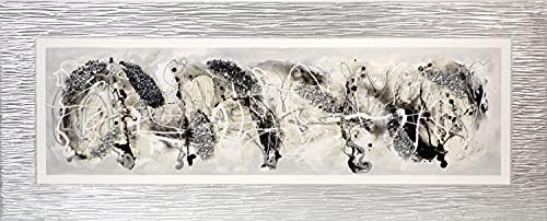 Cuadroexpres - Cuadro Pintado Abstracto Blanco y Negro, Gris y Plata 150x60 cm con Marco en Relieve Color Plata Pintado en el Lienzo y Piedras Brillantes 100% Original