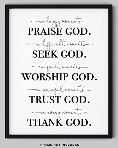 "'Praise God, Seek God, Worship God, Trust God, Thank God' Prayer Quote Wall Decor - 11x14"" UNFRAMED Print - Religious, Motivational Typography Wall Art, God Poster - Religious Gifts"