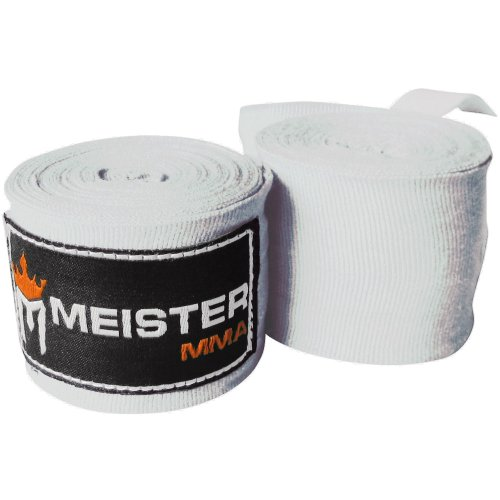 Meister 457cm elastische Baumwoll Handwickel für MMA & Boxen 1 Paar - Weiß