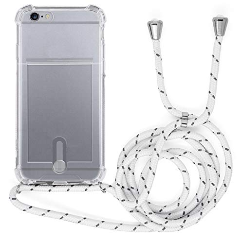 MyGadget Funda Transparente con Cordón para Apple iPhone 6 / 6s - Carcasa Portatarjetas con Cuerda y Esquinas Reforzadas en Silicona TPU - Blanco