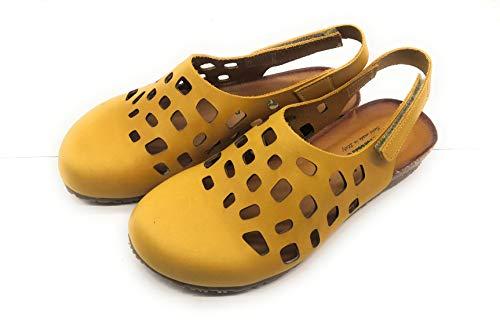 BioNatura 68 C 2080 Sandalo Sportivo Donna Chiuso Davanti Traforato Pelle Gaucho Giallo (Numeric_36)