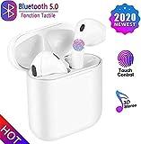 YuSheng19 Écouteurs sans Fil Bluetooth 5.0, Casque sans Fil, Microphone intégré et étui de Chargement, réduction de Bruit stéréo 3D HD pour Casques écouteurs iphone/Apple Airpods/Android