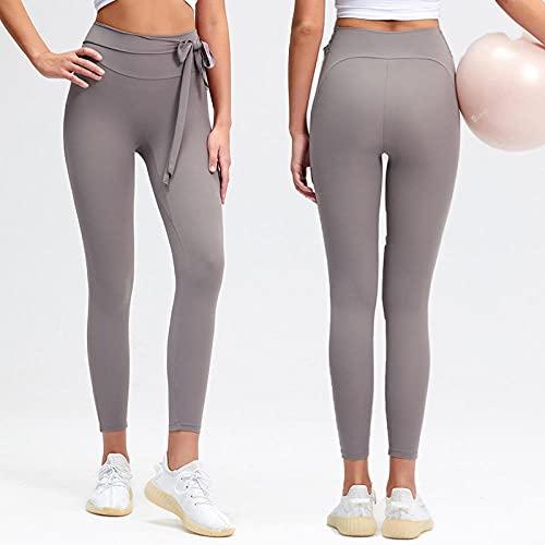 WUHUI Donna Pantaloni a Vita Alta da Allenamento Yoga Sportivi, Pantaloni da Yoga con Fiocco a Vita Alta,-B_L, Pants per Ginnastica Fitness Sport Pantaloni Casual