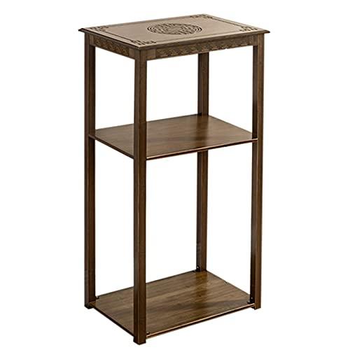 ZENGAI Classical Style Floorstanding Plant Stand, Multifunction Wooden Shelf, Office Corridor Living Room Bedroom Flower Pot Stand, Engraving Display Rack (Color : Brown, Size : 49x33x100cm)