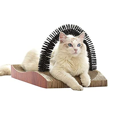 FUKUMARU Pet Fur Grooming Cat Scratching Pads, Cats Self Groomer Massager Scratcher Toy Brush