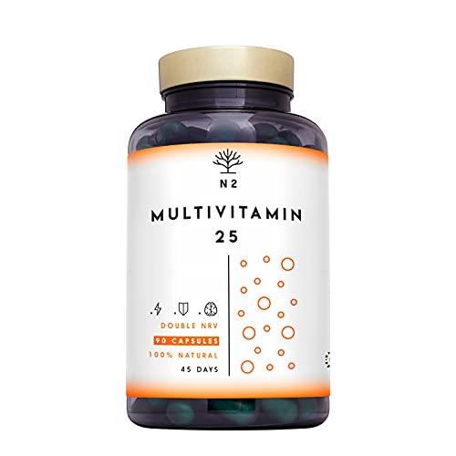 Multivitaminas Vitamina C y D con Zinc Magnesio Hierro. 25 Minerales y Vitaminas E B6 B12 B1. 200% del Valor Diario Recomendado. vitaminas para el cansancio. 90 Cápsulas N2 Natural Nutrition