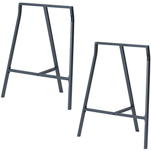 Set of 2 Industrial Look Durable Steel Crosscut Trestle Legs for Table Desk or Workstation (Dark Gray)