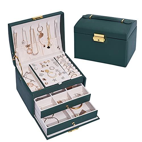 Lichi Joyería, organizador de joyas de viaje con 2 cajones, varios compartimentos y cerradura para niñas, collar, pendientes, anillos, pulsera, color verde