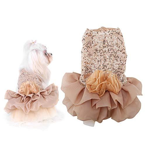Pequeo Vestido De Perro De Verano Pao De Mascota De Verano Perrito De Moda Lentejuelas Princesa Burbuja Falda Disfraz De Boda Oro XS 0304
