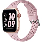 Henva Slim Breathable Band Compatible with Apple Watch SE Series 6 5 4 3 2 1 for Women Girls, Soft Silicone Replacement Band Compatible with iWatch 38mm 40mm, Sand Pink