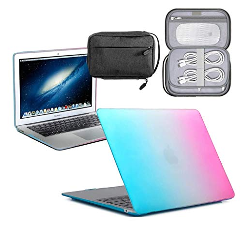 GUPi - Rainbow Blue Hard Shell Case, Cover with Water Resistant Accessory Bag for Apple MacBook [13-inch Air - A1932] - [2018-2019] (Retina)