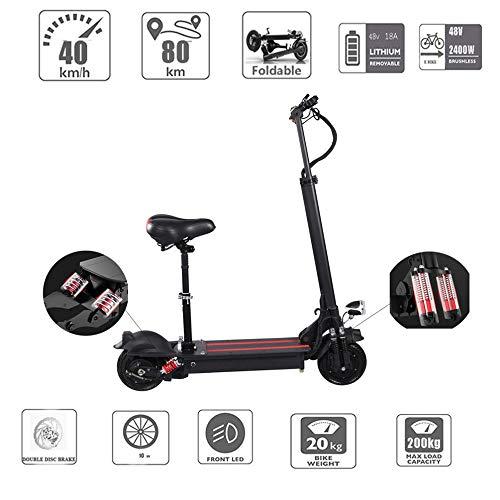 electric bicycle Elektrische scooter voor volwassenen, opvouwbaar, draagvermogen 200 kg met zitje 10 inch 50 km/h lithium batterij 48 V 18 Ah 2400 W Dual motor Drive met LED-licht en HD-display