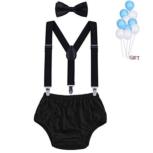 WELROG Baby Jungs Kuchen Smash Outfit - Verstellbare Y Hosenträger & Fliege Girls Bloomers zum 1./2. Geburtstag (Schwarz)