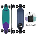 Teamgee H8 Skateboard Électrique - Longboard Adulte avec Télécommande, Moteur 480W, Trois Vitesses Réglables 16-25 km/h, Poid 5.3kg, Autonomie 12-15km (Voilet et Vert)