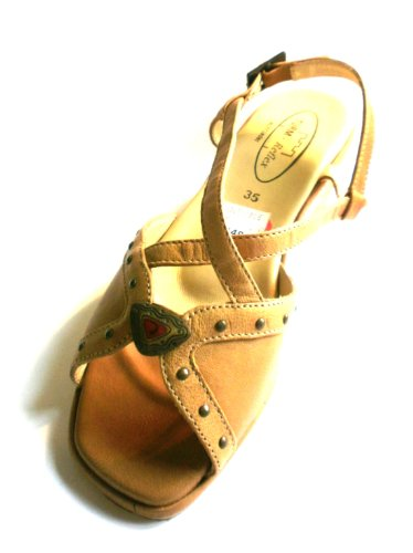 Turm-Schuh Damen Sandale Sandalette, 91788, Cappuccino (braun), mit Kork, echt Leder, Sale * (37)