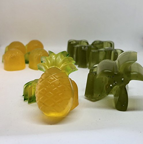 Set of 4 Mini Pineapple and Palm Tree Glycerin Soap in Solids and Swirls - Beach Decor - Party Favors