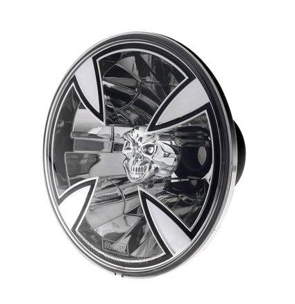 Harley Davidson – verlichting – koplamp Adjure – buitengewone look en nauwkeurigere lichtstraal maken deze koplamp tot een must – uitgerust met een heldere glazen lens en een H-4 lamp, zorgen voor een heldere lichtstraal, die zowel kort als lang zicht helder is – Adjure koplampen Adjure 7