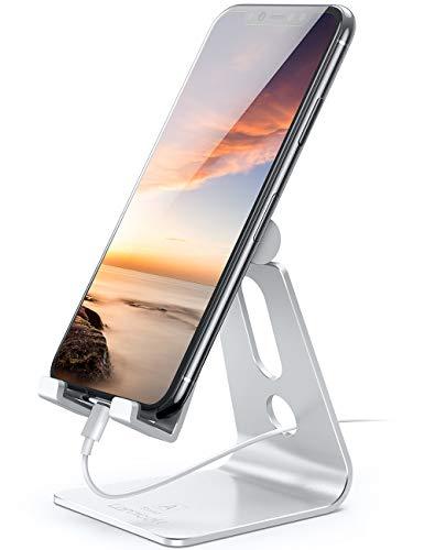 Supporto Telefono, Lamicall Dock Telefono - Multi-angolo Supporto Dock per iPhone 12 Mini, 12 Pro Max, 11 Pro Xs Max XR X 8 7 6 6S Plus, HUAWEI, Samsung S10 S9 S8, Scrivania, Altri Smartphone -Argento
