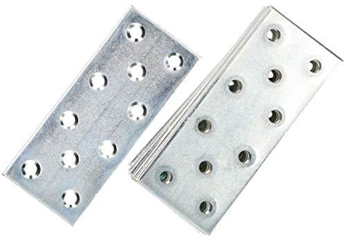 KOTARBAU Lochplatten 96 x 40 mm Verzinkt Silber Flachverbinder Holzverbinder Innen – Außenbereich Lochplatte Stahlverbinder Lochblech Flacheisen (25)
