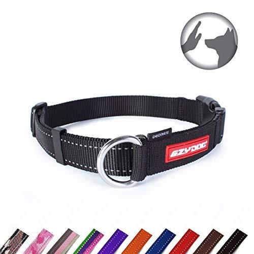 EzyDog Checkmate Hundehalsband - Halsband Hund - Zugstopp Halsband für Hunde - Zughalsband für hunde - Trainings und Dressurhalsband. Schlupfhalsband für Große, Mittlere und Kleine Hund (S, Schwarz)