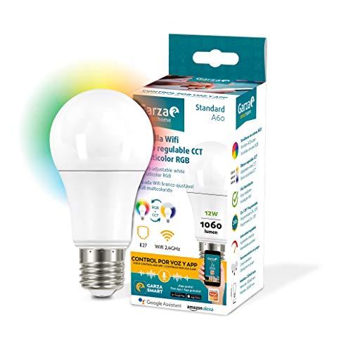 Garza ® Smarthome - Bombilla LED Estandar Intelegente Wifi E27, luz blanca neutra regulable con cambio de intensidad, temperatura y color. Programable, compatible con Amazon Alexa y Google Home.