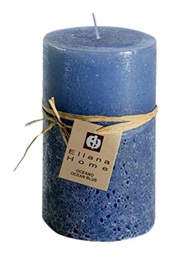 Eliana Home Vela Acabado Rustico océano, 7 x 12.5 cm, Cera, Azul, 7.00x7.00x12.50 cm