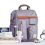 Sunveno Baby-Reiserucksack, multifunktional, Wickelrucksack, wasserdicht und modisch, für Mütter, großes Fassungsvermögen, 12 Taschen mit USB-Anschluss, Grau