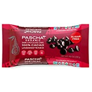 Pascha Organic Unsweetened Dark Chocolate Baking Chips 100% Cacao, UTZ, Gluten Free, Non GMO, No Added Sugar, 8.8 Ounce, Pack of 6