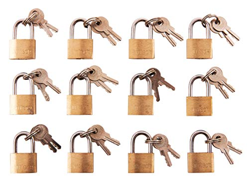 Amtech T0790 Brass Small Padlocks With Keys For Luggage, lockers, Toolboxes, Cupboards, Sports Bags, Transparent, 12pc
